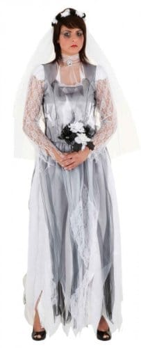 Monsterbraut : Kleid, Haarreif mit Schleier und Blumenstrauß - 1
