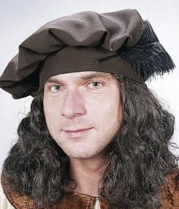 Mütze: Barett mit Haaren, braun - 1