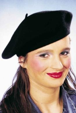 Mütze: Baskenmütze, schwarz, Wolle - 1