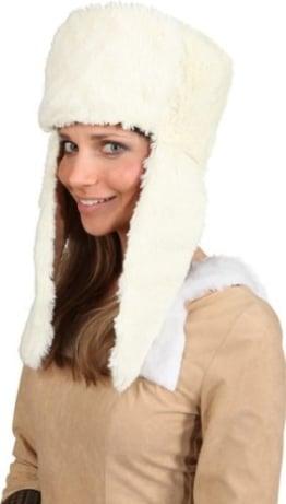 Mütze: Fellmütze, lange Ohrenschützer, creme-weiß - 1