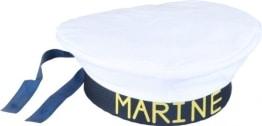 """Mütze: Marine-Mütze, Aufdruck """"Marine"""", weiß und schwarz, Kopfweite 56 und 60 - 1"""