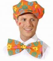 Mütze: Mütze mit Schleife, orange mit Blumen - 1