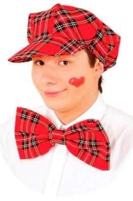 Mütze: Mütze mit Schleife, rot, kariert - 1