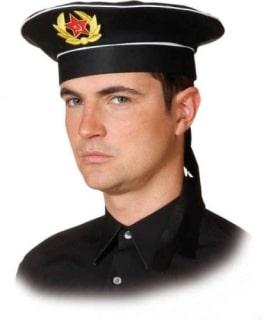 Mütze: russische Marine-Mütze, mit Sowjet-Emblem, schwarz, Kopfweite 56, 58, 60 - 1