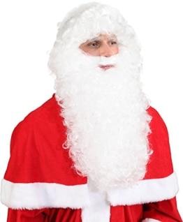 Nikolaus-Set: Weihnachtsmann-Set mit Bart und Perücke, Luxus-Version, weiß - 1