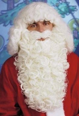 Nikolaus: Weihnachtsmann-Bart mit Kinnstütze, Luxus-Version, weiß - 1