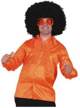 oranges Satin-Rüschenhemd - 1