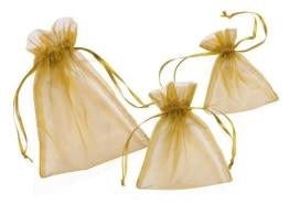 Organza-Säckchen, goldfarben, 13 x 10 cm, 12er-Pack - 1