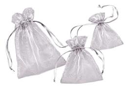 Organza-Säckchen, silberfarben, 13 x 10 cm, 12er-Pack - 1