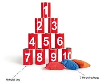 Outdoor-Spielzeug: Dosenwerfen, 6 Dosen, 3 Bälle - 6