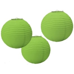 Papierlaterne, grün, 24 cm Durchmesser, 3er-Pack - 1