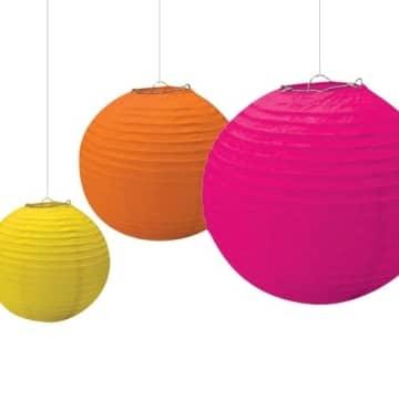 Papierlaterne, verschiedene Sommerfarben, 20 – 30 cm Durchmesser, 3er-Pack - 1