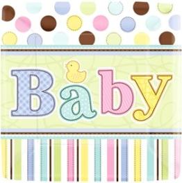 Pappteller, rechteckig, bunt mit Baby-Schriftzug, 18 x 18 cm, 18er-Pack - 1