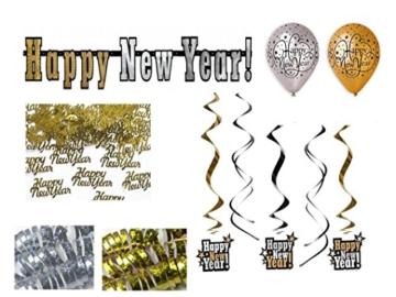 "Party Deko Set Silvester 15 teilig ""Happy New Year"" Girlande Luftballon Konfetti -"