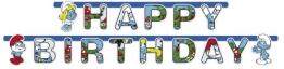 """Party-Kette: Geburtstagskette, Schlümpfe, """"Happy Birthday"""", 180 cm - 1"""