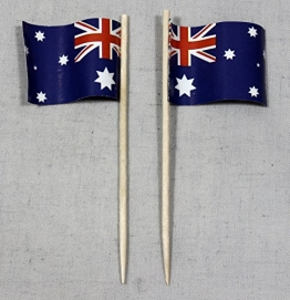 Party-Picker Flagge Australien Papierfähnchen in Profiqualität 50 Stück Beutel Offsetdruck Riesenauswahl aus eigener Herstellung - 1