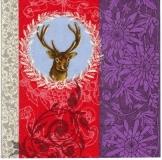 Party-Servietten: Servietten, burgund-violett, Hirsch, 33 x 33 cm, 20er-Pack - 1
