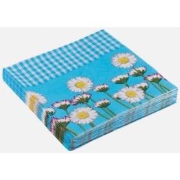 Party-Servietten: Servietten Daisy, Blumenaufdruck, blau, 33 x 33 cm, 20 Stück - 1
