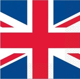 Party-Servietten Union Jack, Großbritannien-Motiv, 16er-Pack, 33 x 33 cm - 1