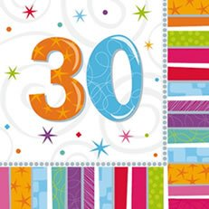 "Party-Servietten: Zahl 30, ""Bunter Geburtstag"", 33 x 33 cm, 16er-Pack - 1"