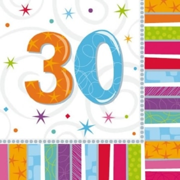 "Party-Servietten: Zahl 30, ""Bunter Geburtstag"", 33 x 33 cm, 16er-Pack - 2"