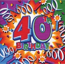 "Party-Servietten: Zahl 40, Motiv ""Birthday Explosion"", 33 x 33 cm, 16er-Pack - 1"