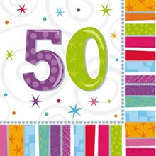 "Party-Servietten: Zahl 50, ""Bunter Geburtstag"", 33 x 33 cm, 16er-Pack - 1"