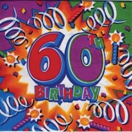 "Party-Servietten: Zahl 60, Motiv ""Birthday Explosion"", 33 x 33 cm, 16er-Pack - 1"