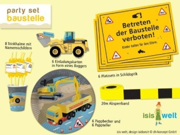 Party-Set, Bauarbeiter-Motiv, 61 Teile, Kindergeburtstagsdeko - 1