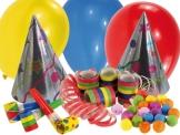 Party-Set für 6 Personen: Luftrüssel, Party-Hütchen, Luftballons, Luftschlangen,Wattebälle - 1