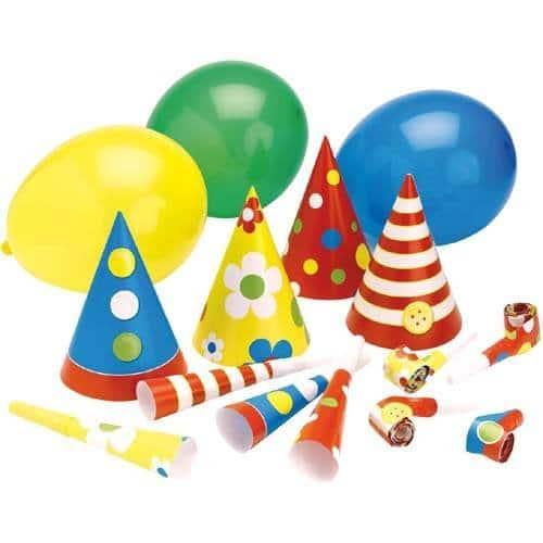 Party-Set: je 4 Luftrüssel, Trompeten, Partyhütchen, Luftballons - 1