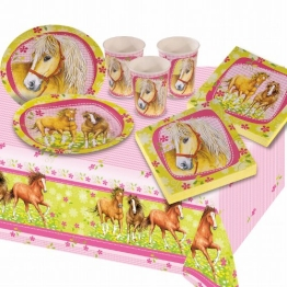 Party-Set, Pferdemotiv, 6 Teller, 6 Becher, 6 Servietten, 1 Tischdecke - 1