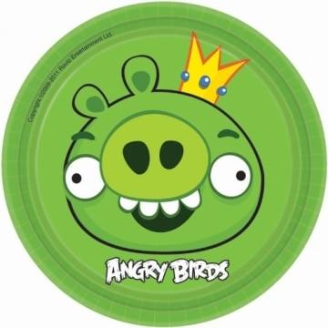 "Party-Teller: kleine grüne Pappteller, Motiv ""Angry Birds"", 18 cm, 8 Stück - 1"