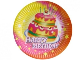 "Party-Teller: Pappteller, ""Happy Birthday"", 23 cm, 8er-Pack - 1"