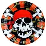 Party-Teller: Pappteller, Jolly Roger, 23 cm, 8er-Pack - 1