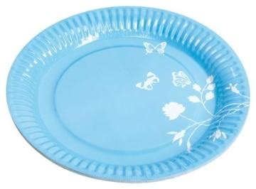 Party-Teller: Pappteller, Sommermotiv Daisy, blau, 23 cm, 8er-Pack - 1