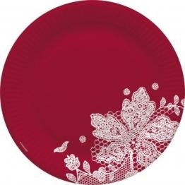 Party-Teller: Pappteller, Spitzenborte, rot-weiß, 23 cm, 8er-Pack - 1