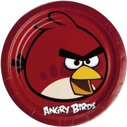 "Party-Teller: rote Pappteller, Motiv ""Angry Birds"", 23 cm, 8 Stück - 1"