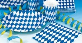 Partybecher mit blau-weißen Rauten, 8er-Pack - 1