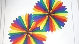 Partyfächer, 50 cm, Regenbogenfarben - 1