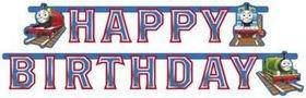 """Partykette: Schriftzug """"Happy Birthday"""" mit Motiv der Lokomotive Thomas, 180 cm - 1"""