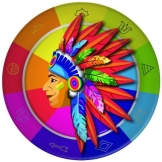 Partyteller: Pappteller, Indianer-Motiv, 23 cm, 8er-Pack - 1