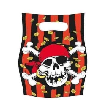 Partytüte: Geschenktüte mit Motiv Jolly Roger, 6er-Pack - 1
