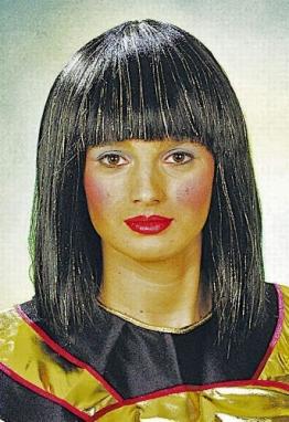 Perücke: Cleopatra-Perücke, schwarz - 1