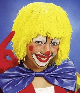 Perücke: Clown-Perücke, Strähnen aus Wolle, verschiedene Farben - 1