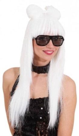 """Perücke: Damen-Perücke """"Lady Crazy"""", mit Haarschleife, weiß - 1"""