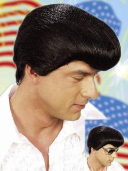 Perücke: Elvis-Perücke, schwarz, mit Tolle, klein - 1