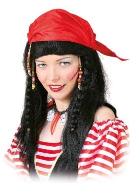 Perücke für Piraten: Seeräuber-Accessoire mit rotem Tuch, unisex - 1