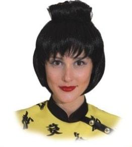 Perücke: Geisha-Perücke, schwarz - 1