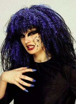Perücke: Hexen-Perücke, neon-blau und schwarz, Langhaar - 1